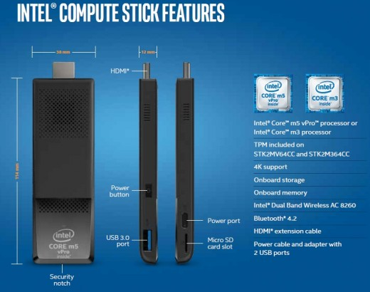 Intel Compute Stick jellemzők