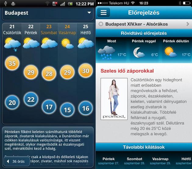 Időkép Androidra és iOS-re