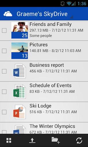 Microsoft SkyDrive Androidra